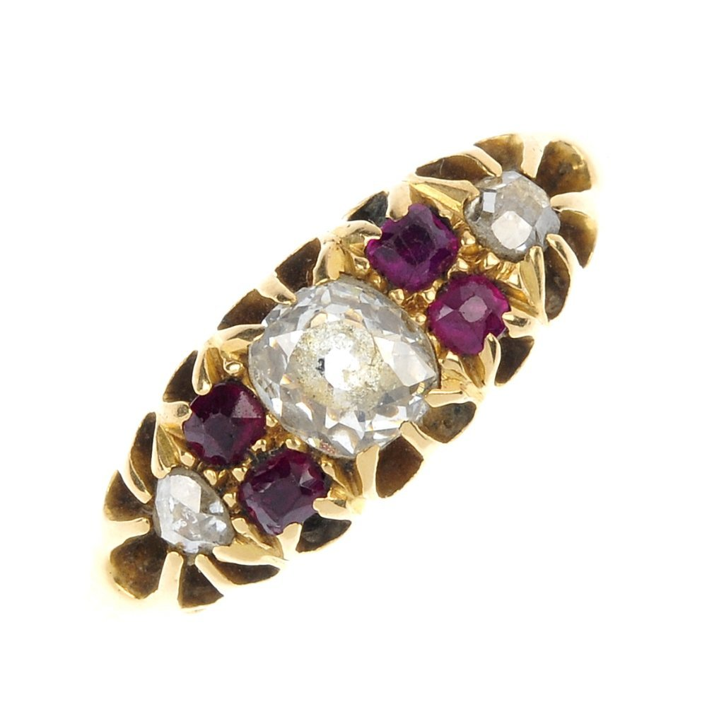 An early 20th century 18ct gold diamond and ruby ring.