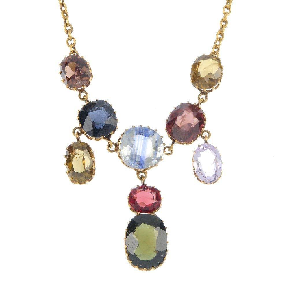 A multi-gem necklace.
