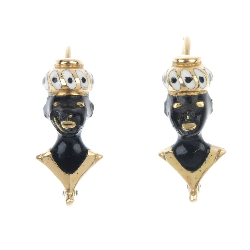 A pair of enamel blackamoor ear pendants.
