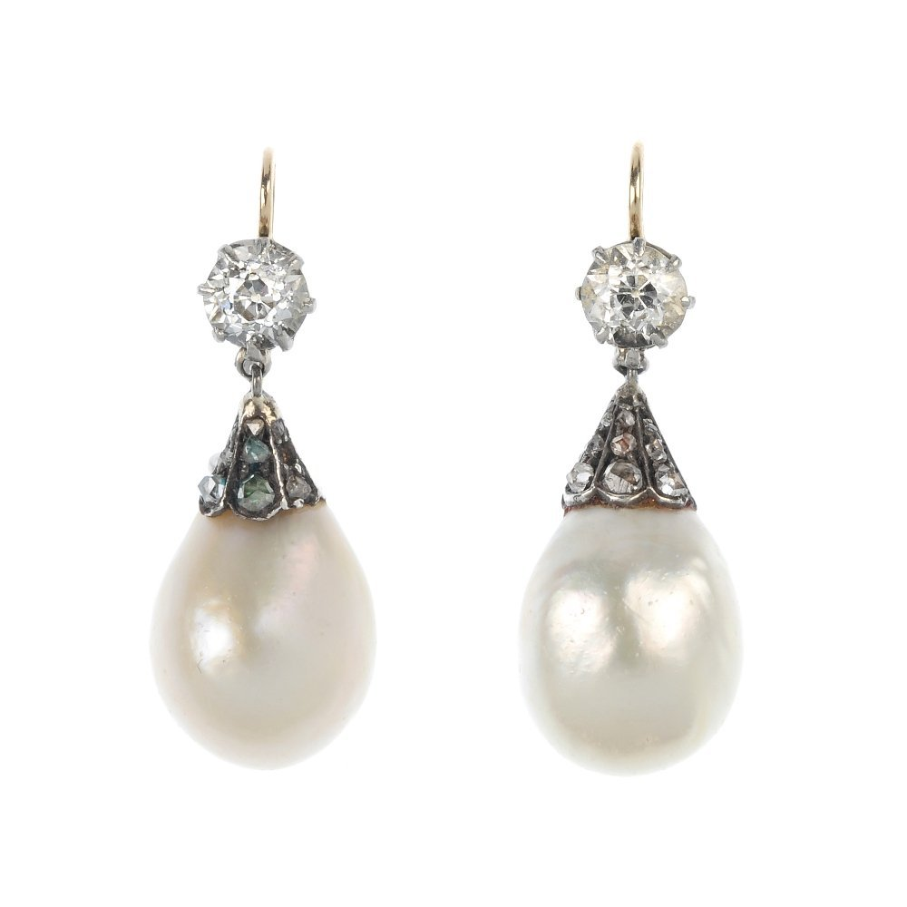 A pair of late 19th century natural pearl and diamond