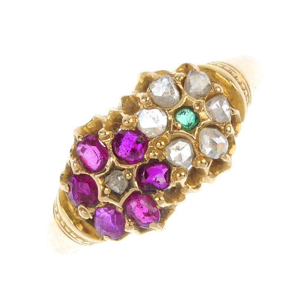 A late Victorian 18ct gold diamond, ruby and emerald