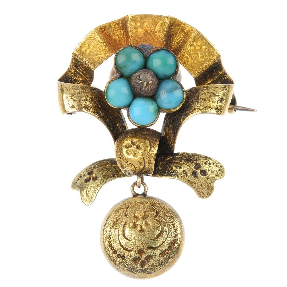 A late 19th century 18ct gold turquoise sentimental