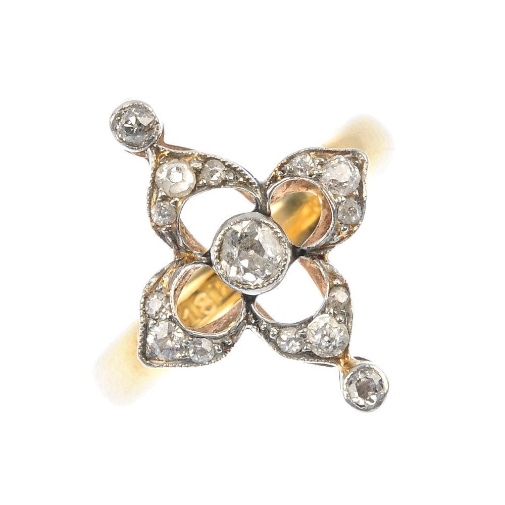 An early 20th century 18ct gold  and silver diamond
