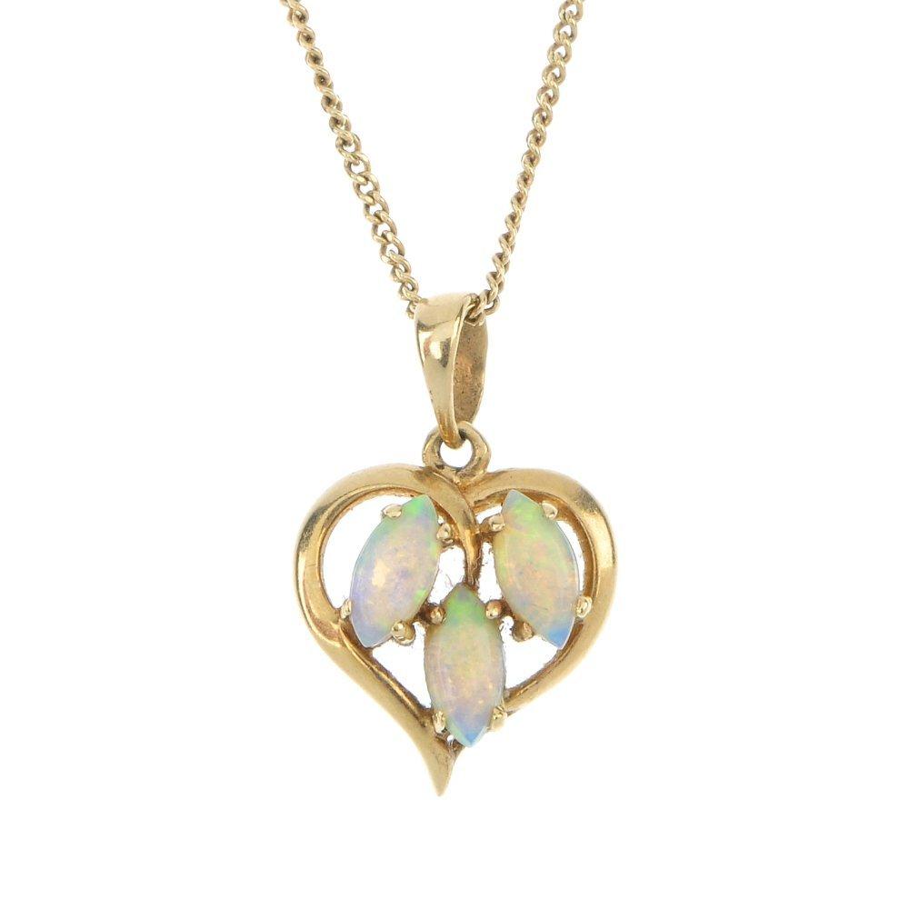 Two 9ct gold gem-set pendants.