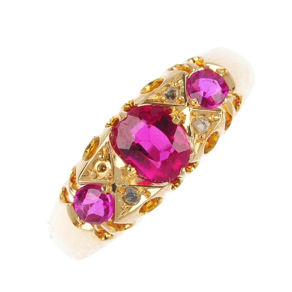 An early 20th century 18ct gold synthetic ruby and