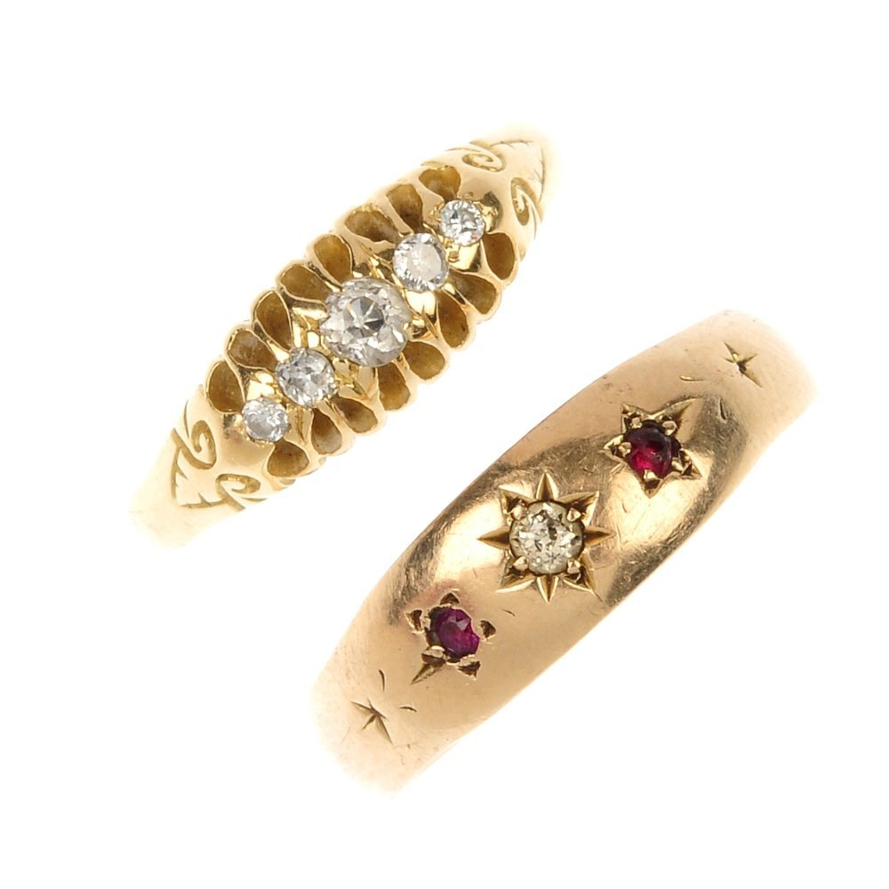 Two early 20th century gold diamond and gem-set rings.
