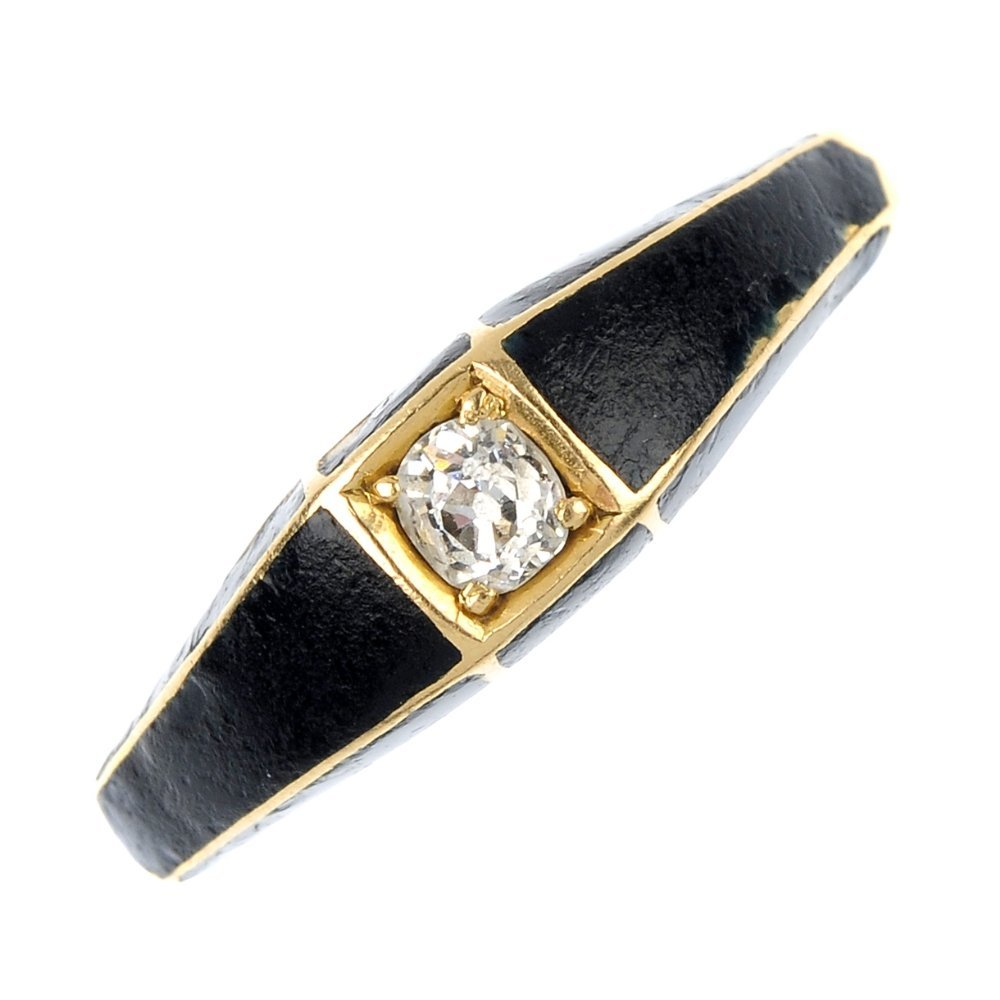 A late 19th century 18ct gold diamond and enamel