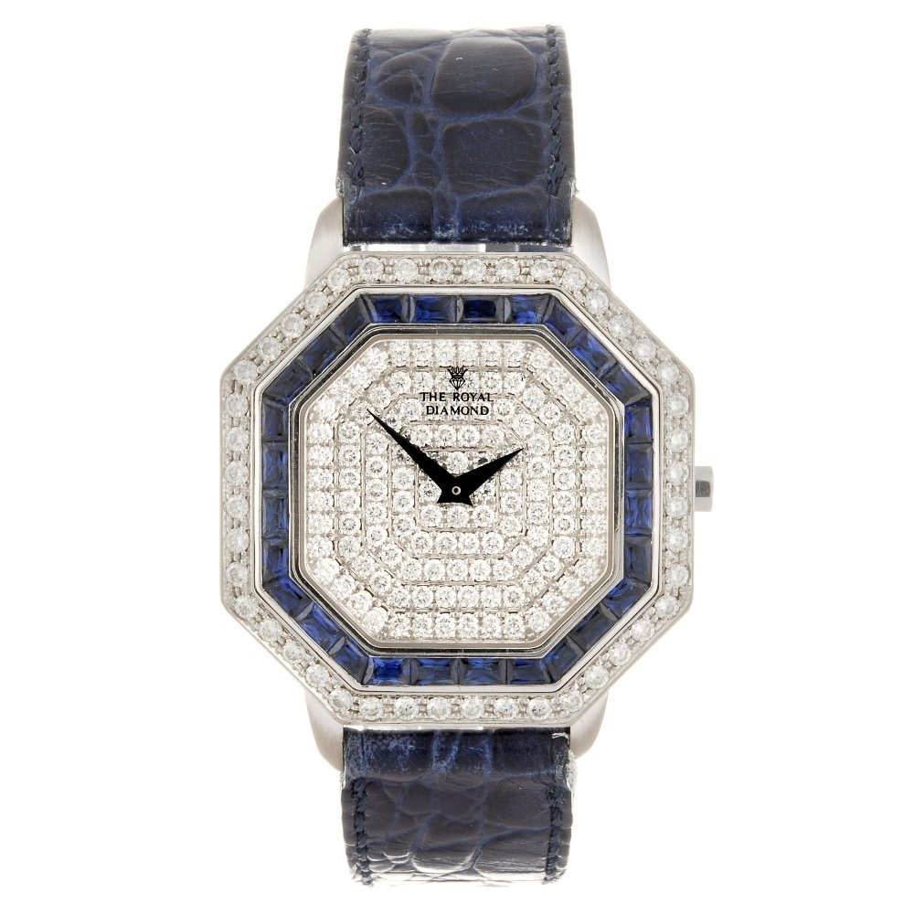 An 18k white gold quartz The Royal Diamond wrist watch.