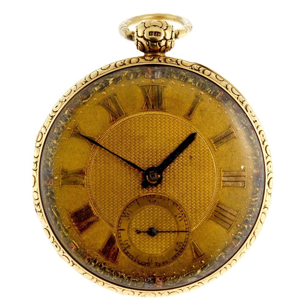 An 18ct gold key wind open face pocket watch by McCabe.