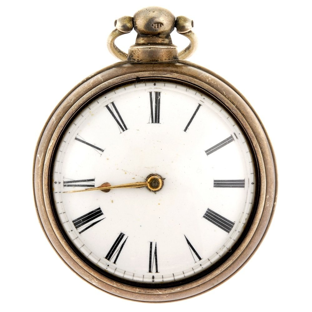 A silver pair case pocket watch by John Menzies.