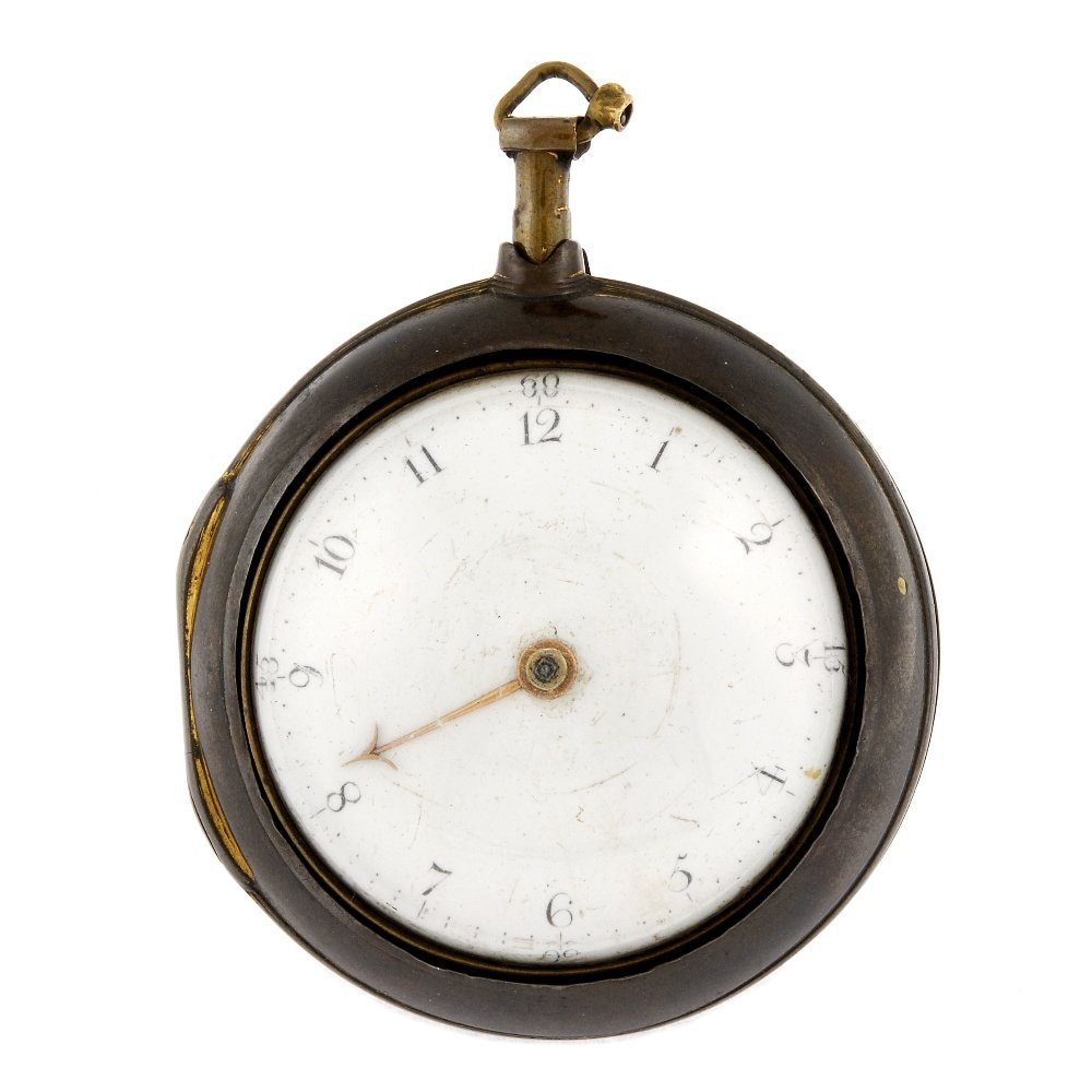 A gilt key wind pair case pocket watch by W. Linney.