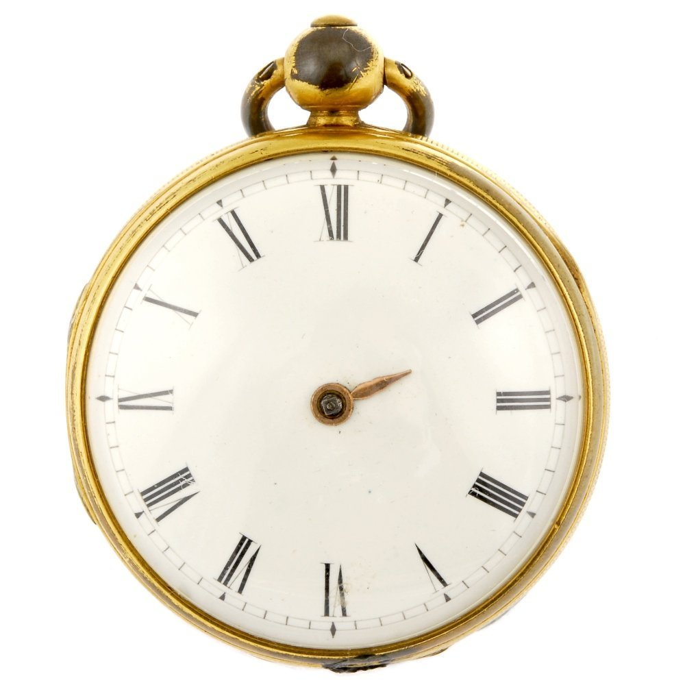 A gold plated keyless wind open face pocket watch.