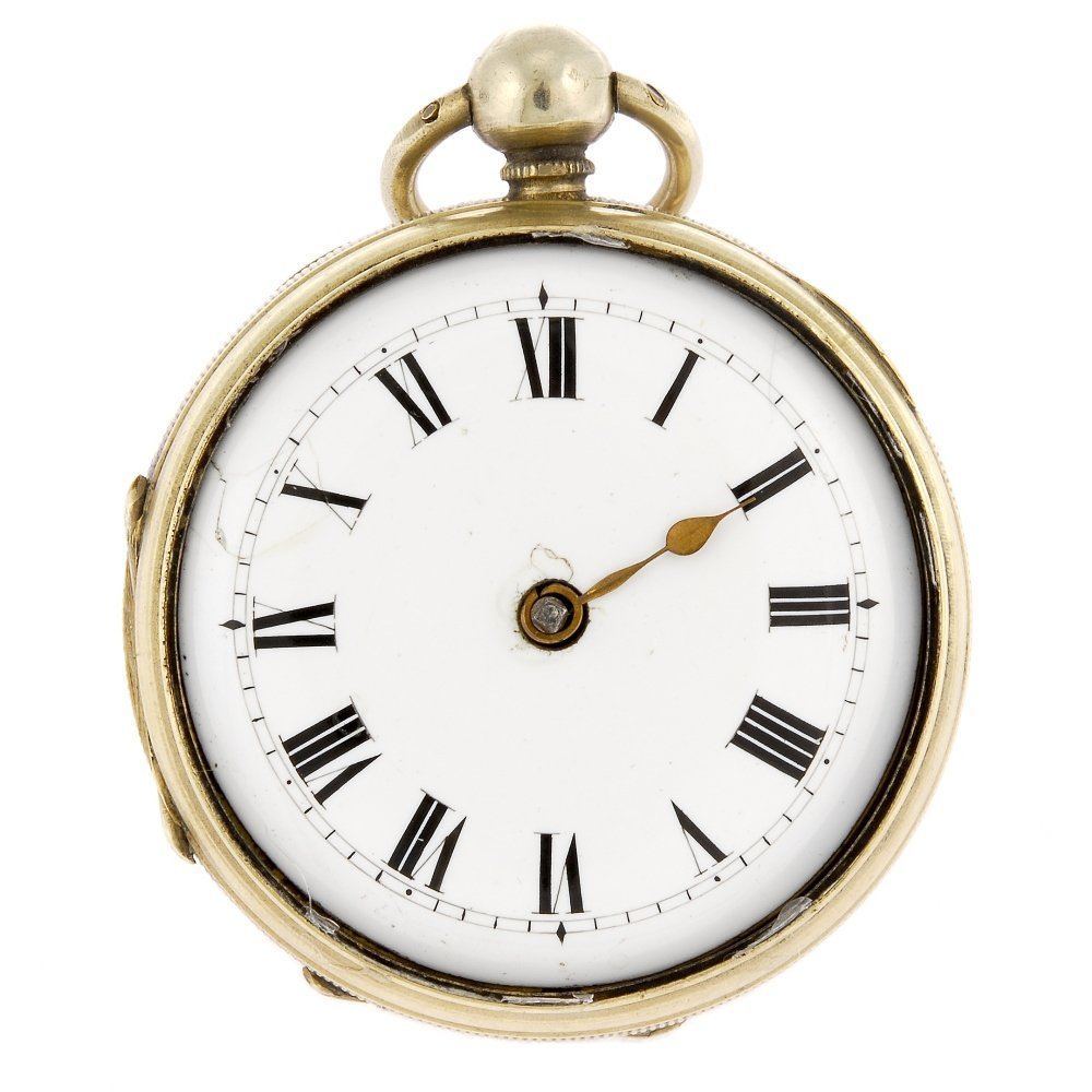 A base metal key wind open face pocket watch by William