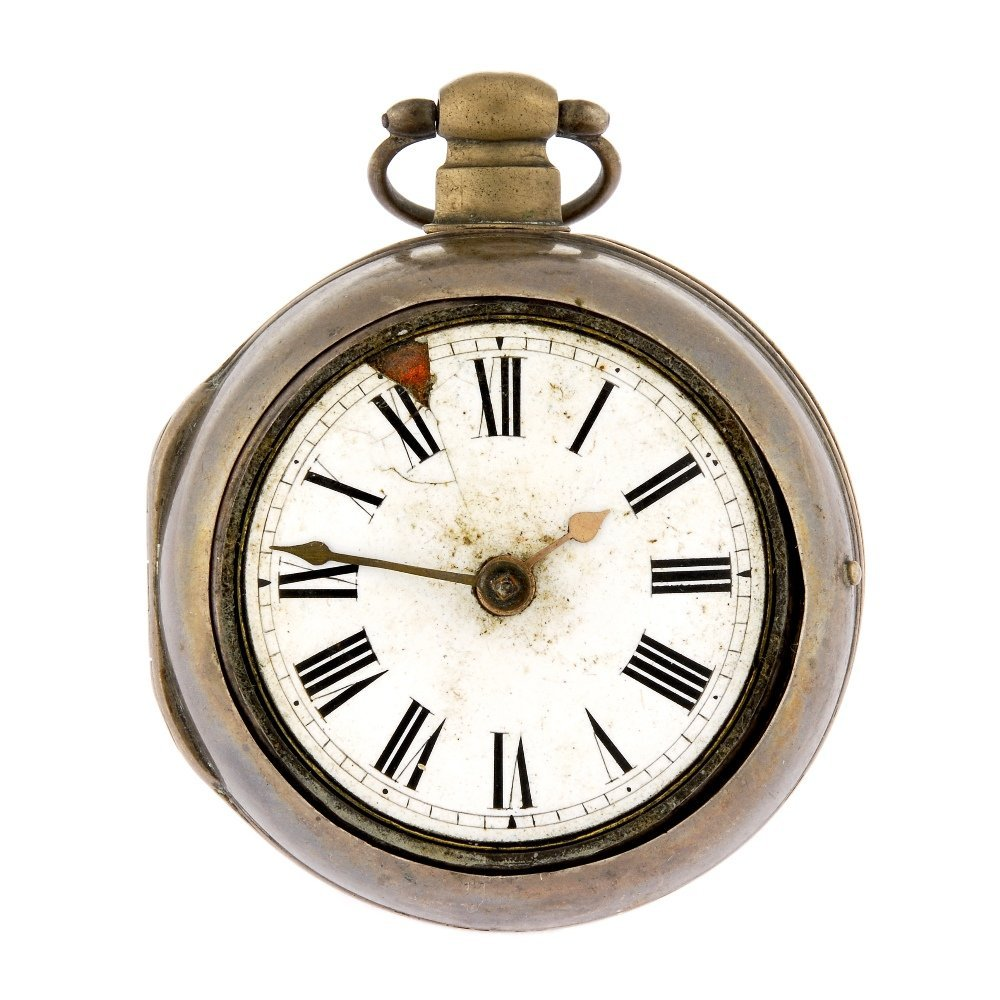 A silver key wind pair case pocket watch by Sam King.
