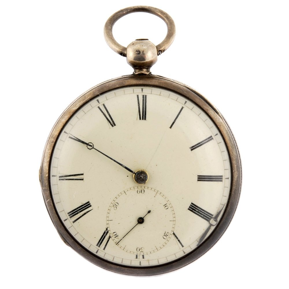 A silver key wind open face pocket watch.