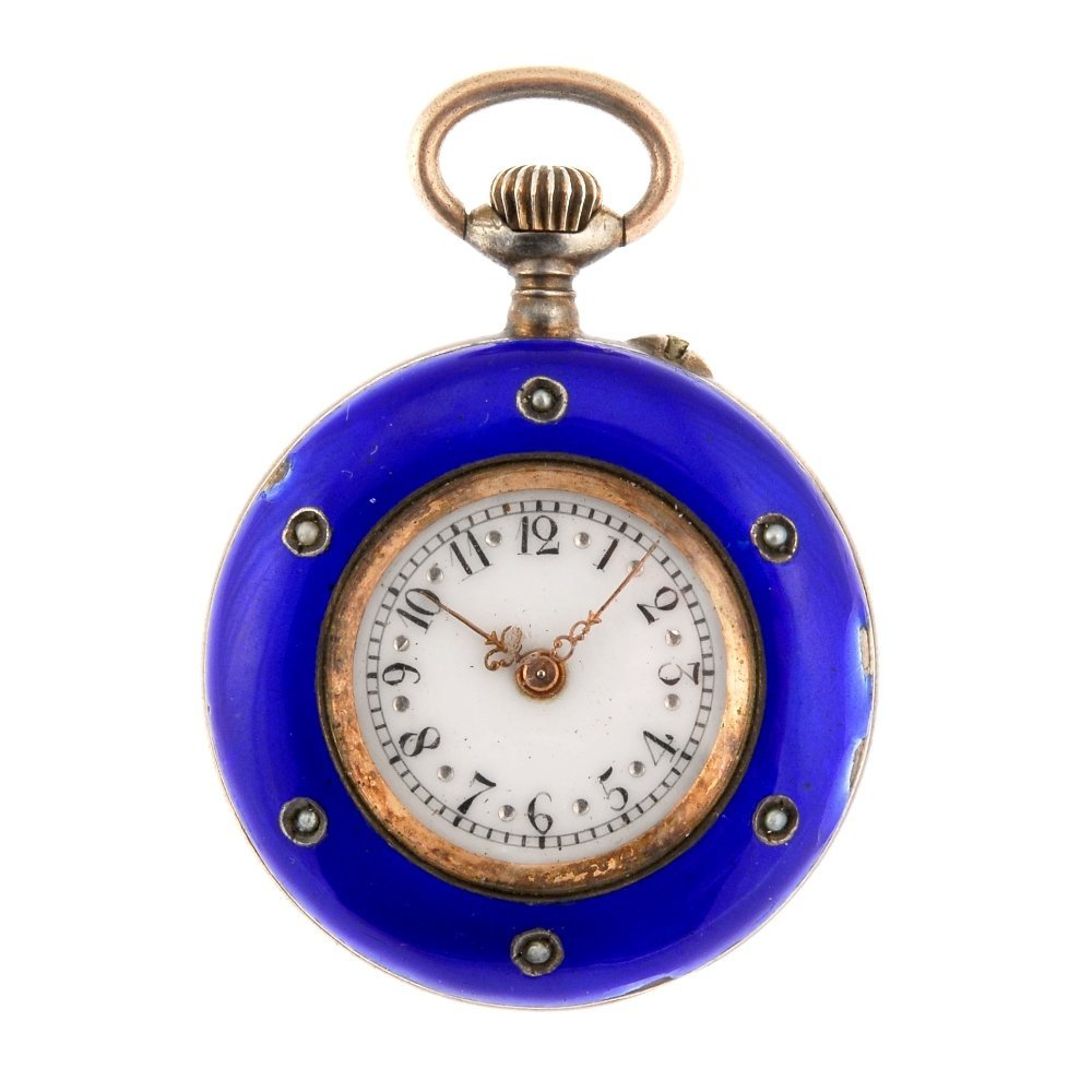 A blue enamel decorated keyless wind fob watch with