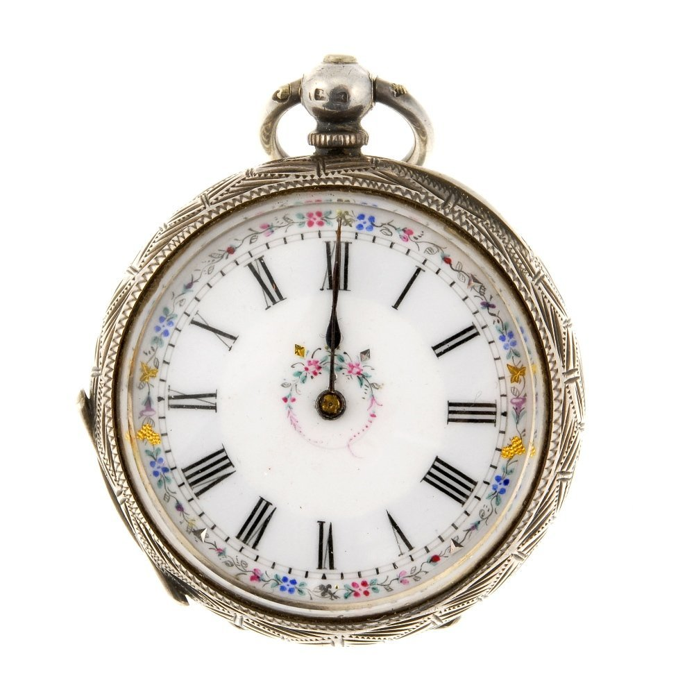 A silver key wind open face pocket watch with a