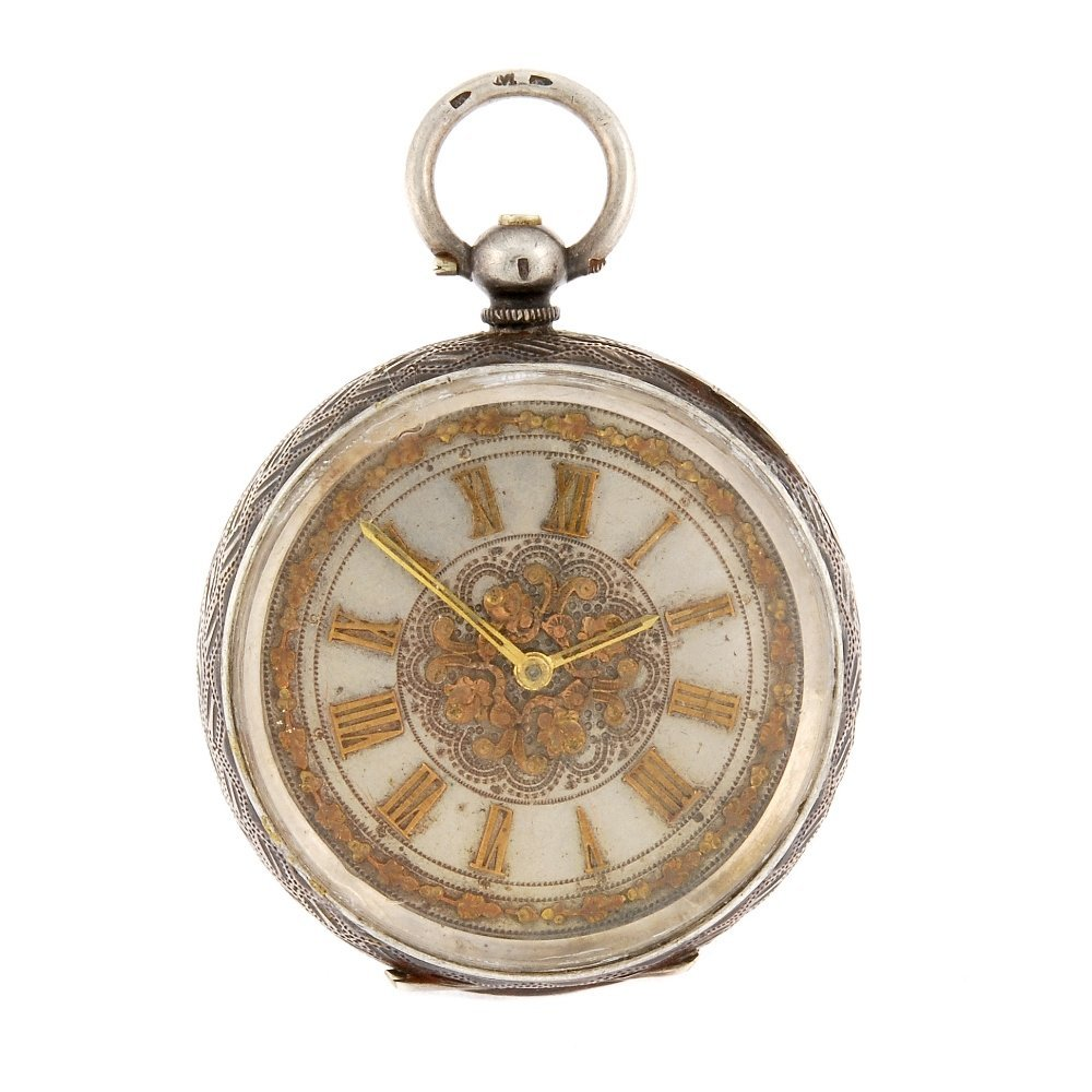 A continental metal key wind open face pocket watch.