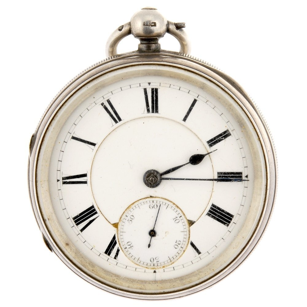 A silver key wind open face pocket watch by W.