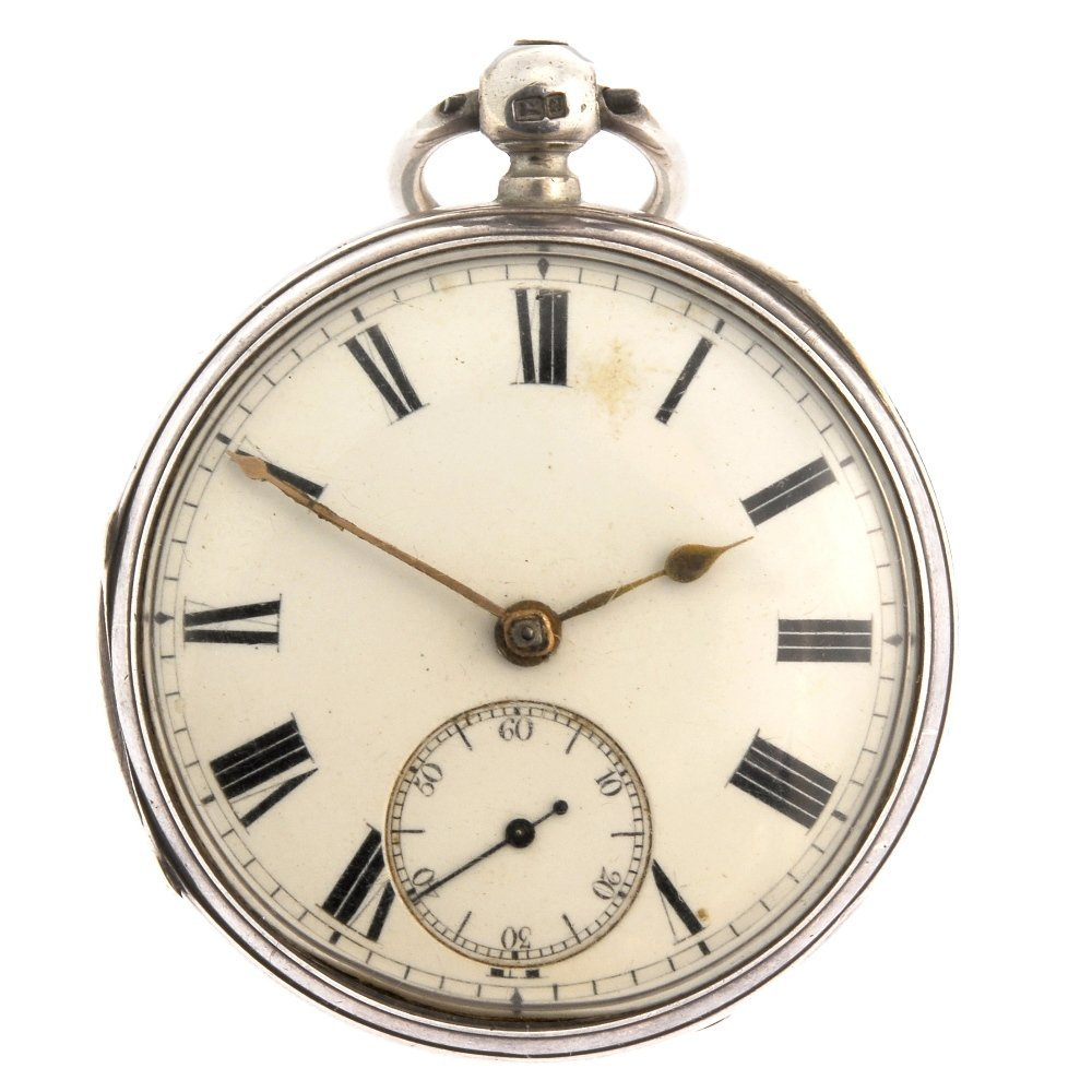 A silver key wind open face pocket watch by Aldred &