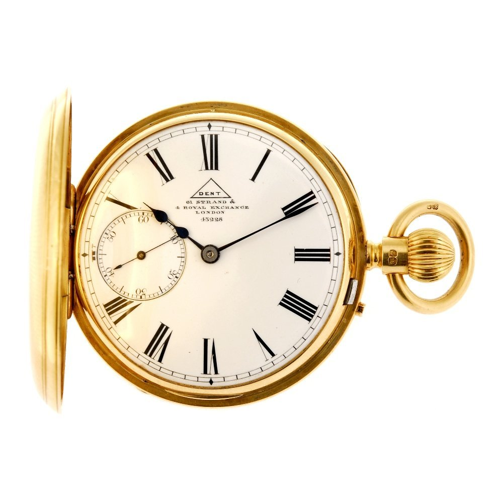 An 18ct gold keyless wind half hunter pocket watch by