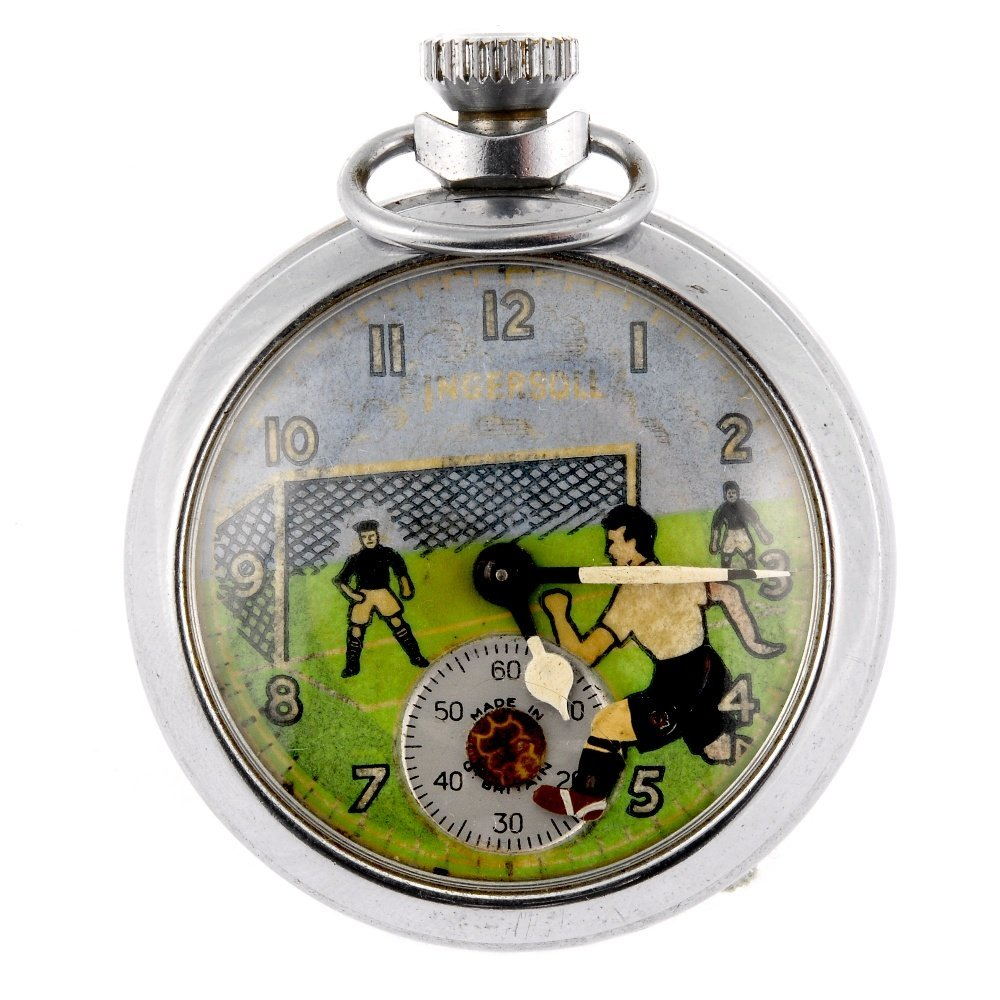 A keyless wind open face pocket watch by Ingersoll.