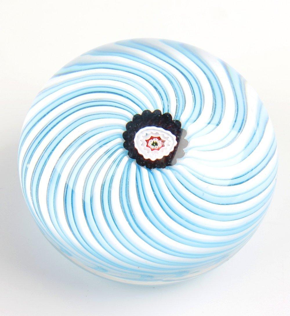 A Clichy blue swirl paperweight