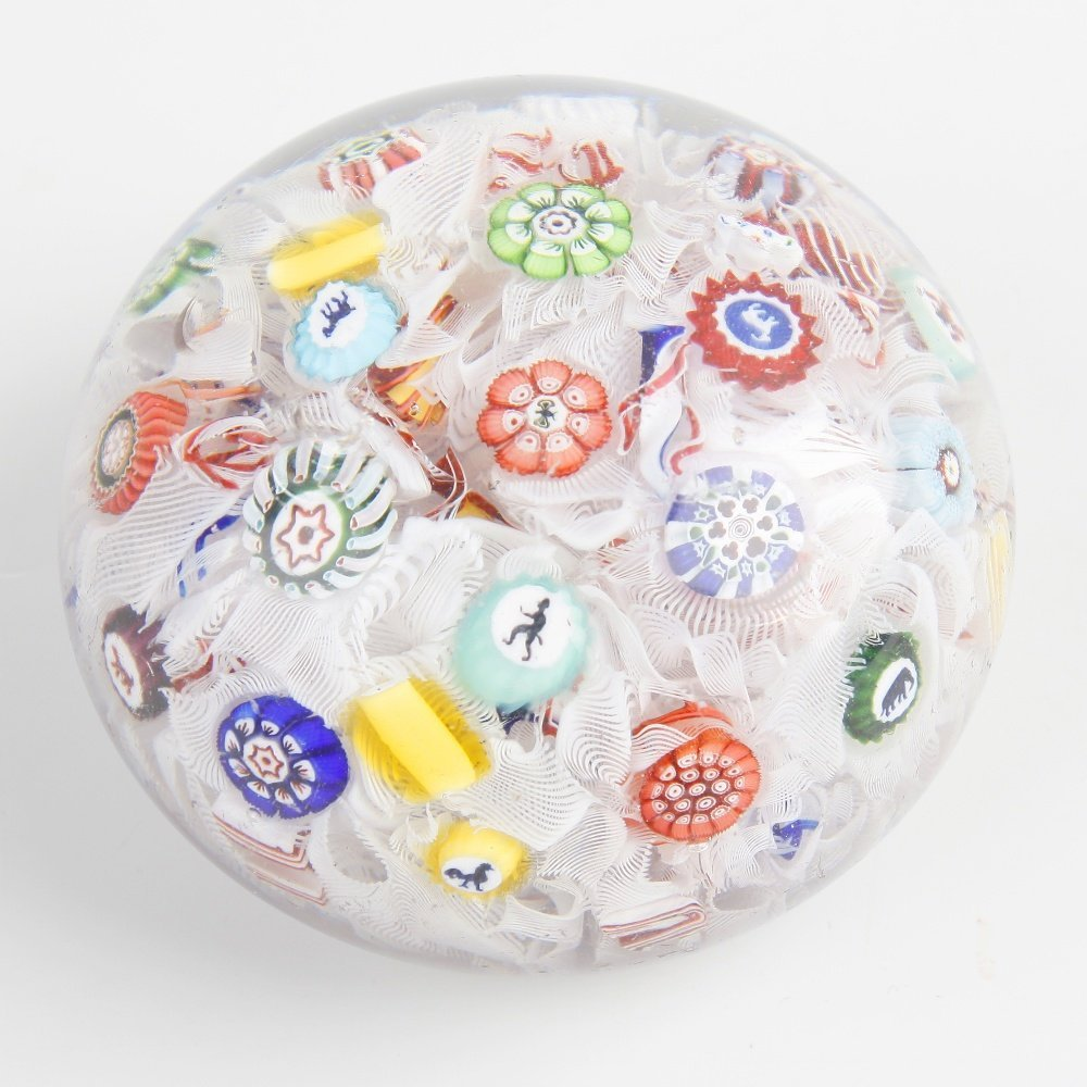 A dated mid 19th century Baccarat spaced millefiori sil