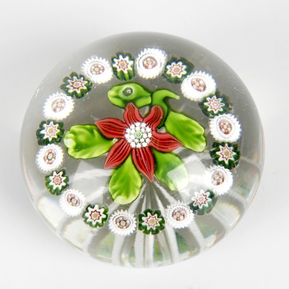 A Baccarat poinsettia paperweight