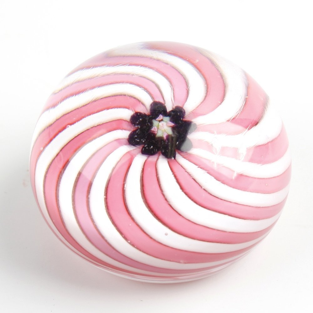 A Clichy pink swirl paperweight