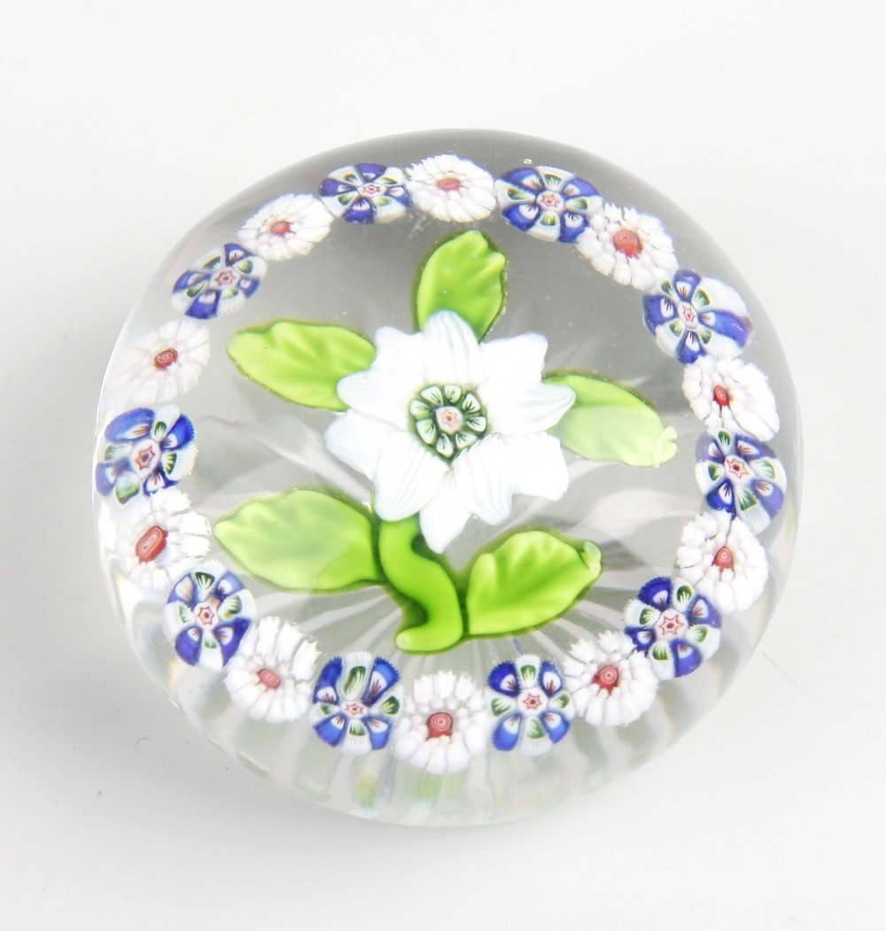 A Baccarat white double-clematis paperweight