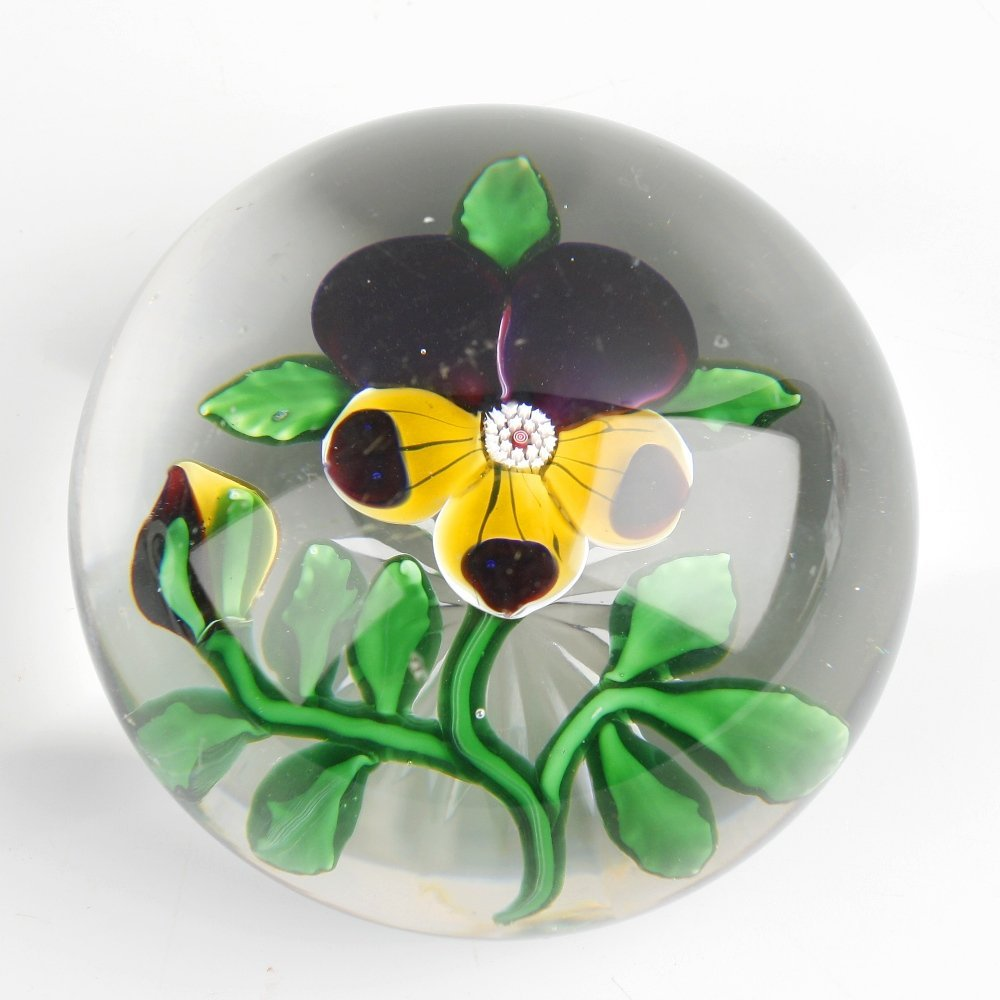A Baccarat pansy paperweight