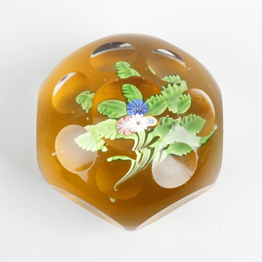A St. Louis facetted amber-ground paperweight