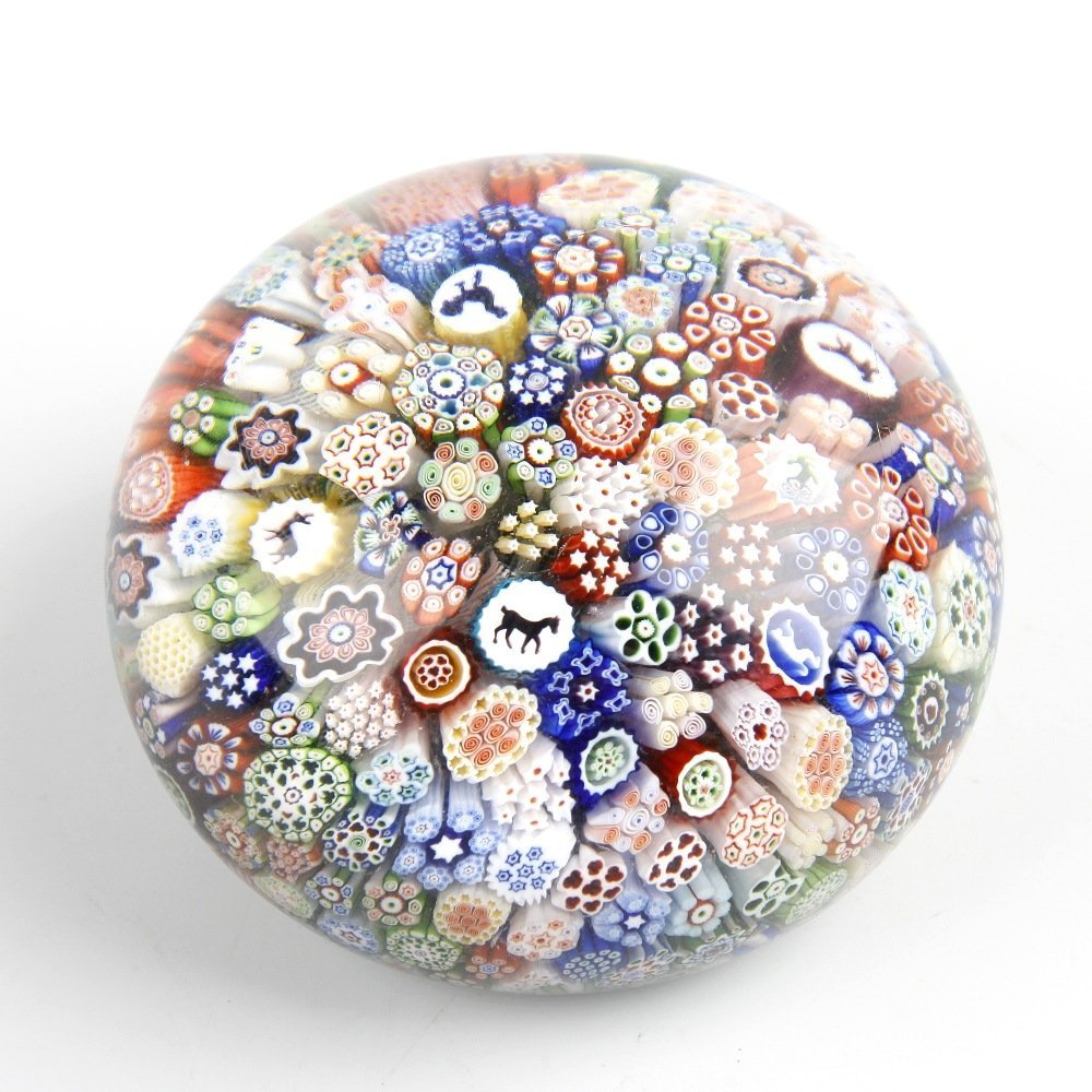 A Baccarat close packed millefiori silhouette cane pape