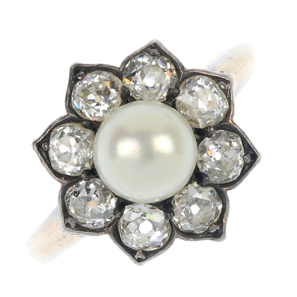 An early 20th century silver and gold cultured pearl