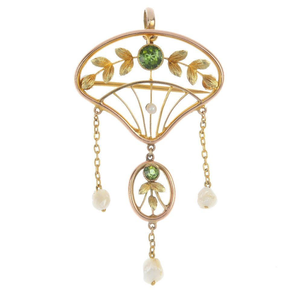 An early 20th century 9ct gold tourmaline and baroque