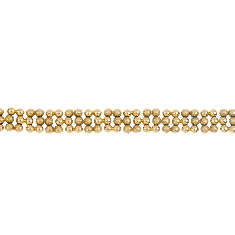 A late 19th century 15ct gold bracelet.