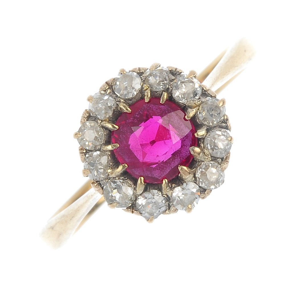 An early 20th century 9ct gold ruby and diamond cluster