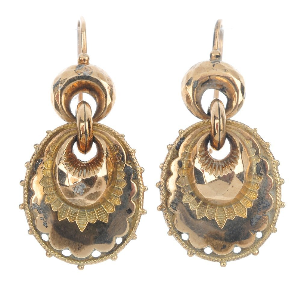 A pair of late Victorian 9ct gold ear pendants.