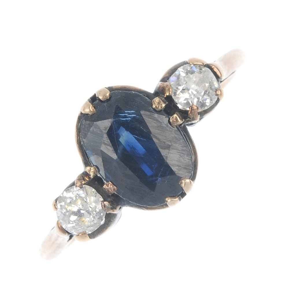 An early 20th century 9ct gold sapphire and diamond
