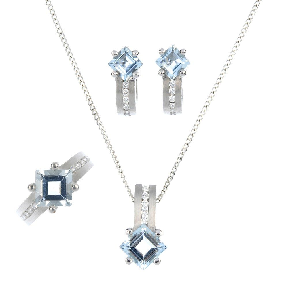 A suite of aquamarine and diamond jewellery.