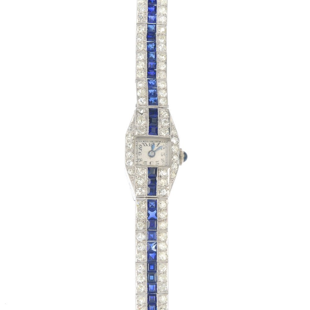 A lady's mid 20th century diamond and sapphire manual
