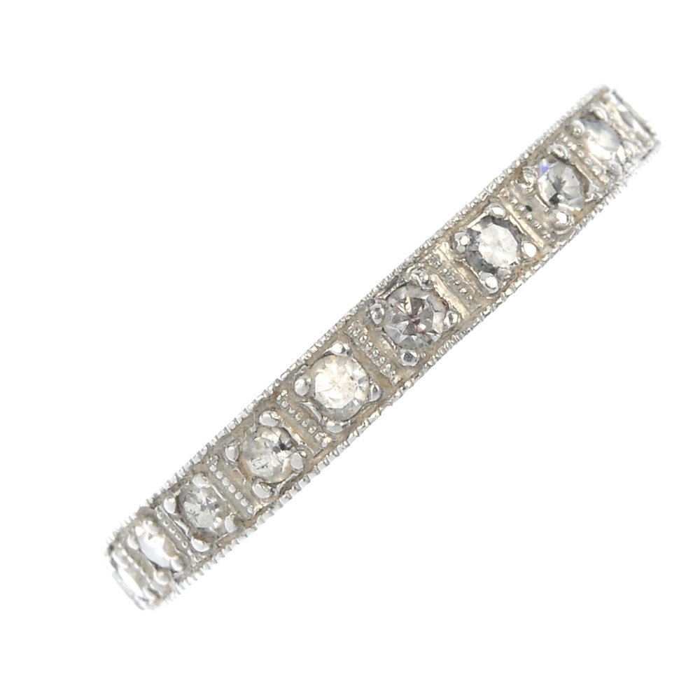 A platinum diamond full-circle eternity ring.