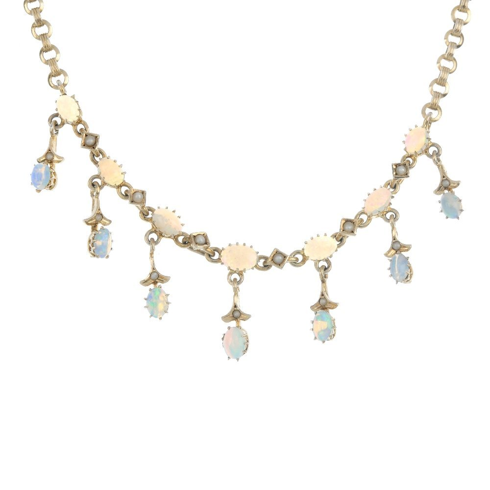 An opal and split pearl necklace.