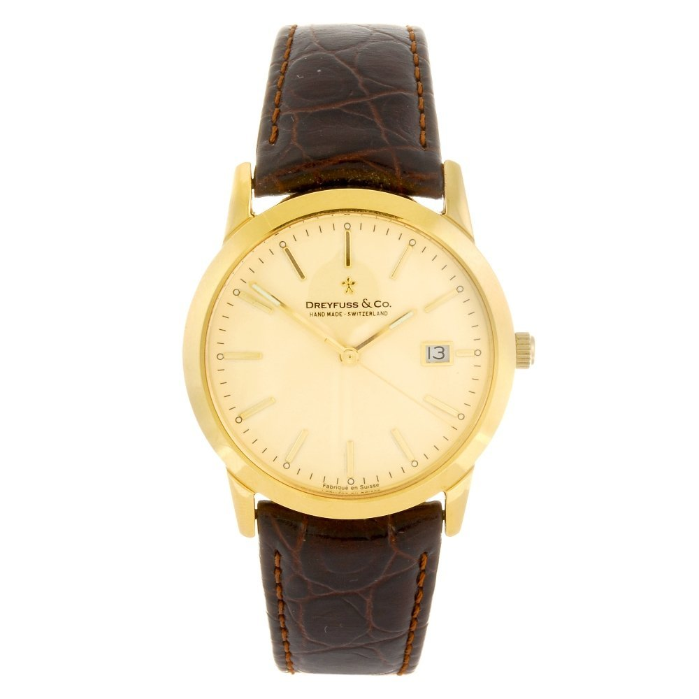 An 18k gold quartz gentleman's Dreyfuss & Co 1890 wrist