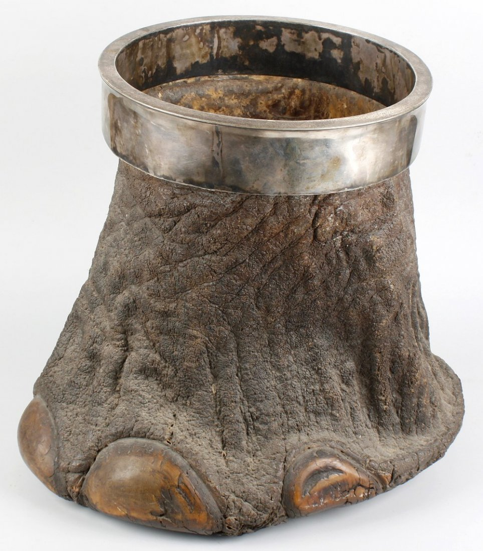 An elephant's foot waste bin with silver-plated rim