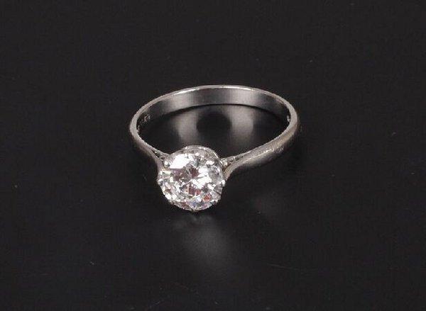 1: Platinum single stone diamond ring of 1.25
