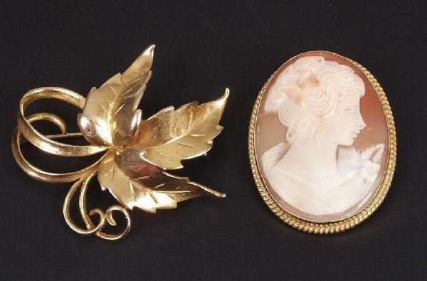 14: 9ct gold oval shell cameo brooch depictin