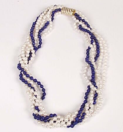 24: Six row cultured pearl and lapis bead nec