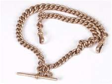 611: 9ct rose gold graduated solid curb link